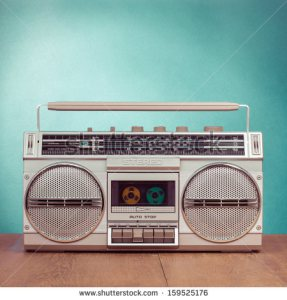 stock-photo-retro-ghetto-blaster-cassette-tape-recorder-on-table-in-front-mint-green-background-159525176